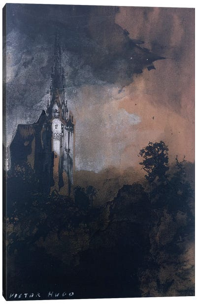 The Castle in the Moonlight  Canvas Art Print