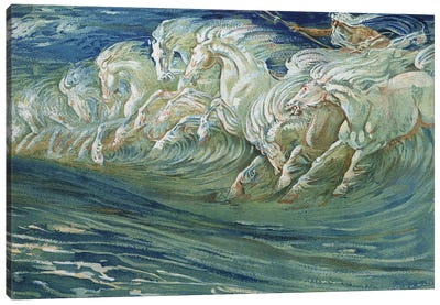 Neptune's Horses, illustration for 'The Greek Mythological Legend', published in London, 1910   Canvas Art Print