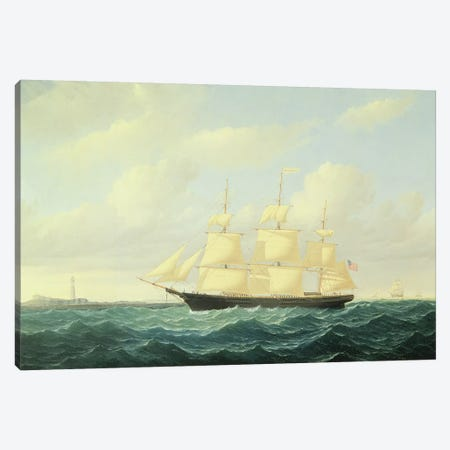 Dashing Wave' clipper ship off Boston Light, 1855  Canvas Print #BMN9863} by William Bradford Art Print