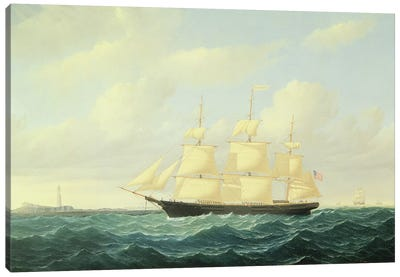 Dashing Wave' clipper ship off Boston Light, 1855  Canvas Art Print