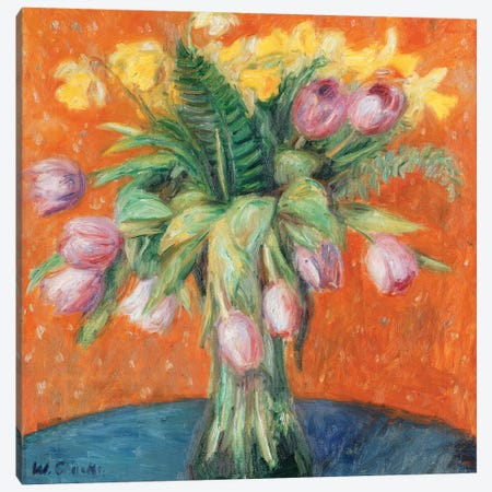 Lavender Tulips and Jonquils,  Canvas Print #BMN9870} by William James Glackens Canvas Wall Art