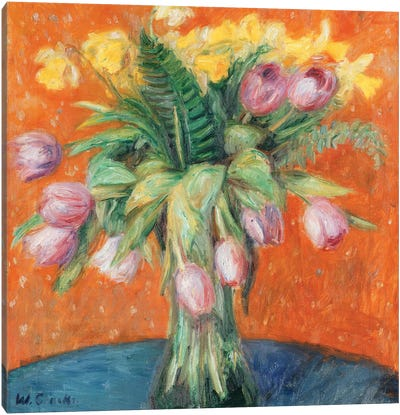 Lavender Tulips and Jonquils,  Canvas Art Print