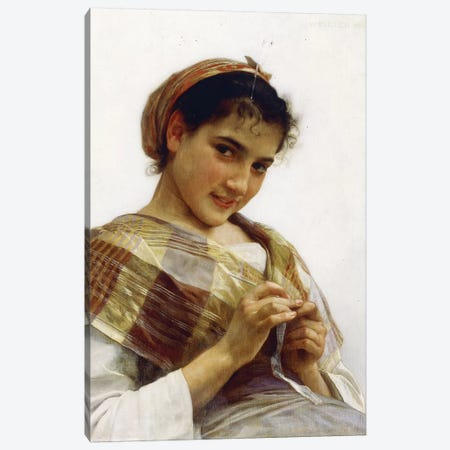 A Breton Girl, 1889  Canvas Print #BMN9872} by William-Adolphe Bouguereau Canvas Artwork