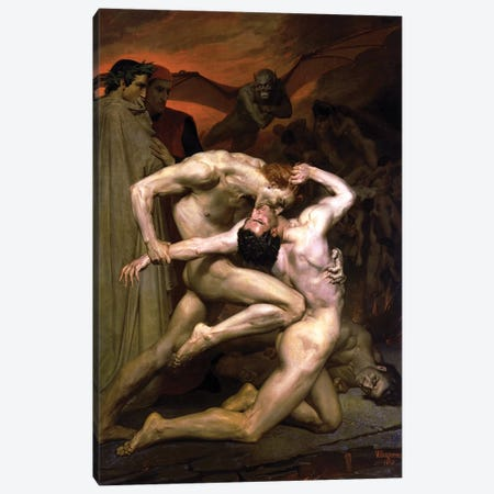 Dante and Virgil in Hell, 1850  Canvas Print #BMN9876} by William-Adolphe Bouguereau Canvas Print