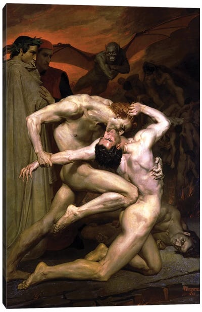 Dante and Virgil in Hell, 1850  Canvas Art Print