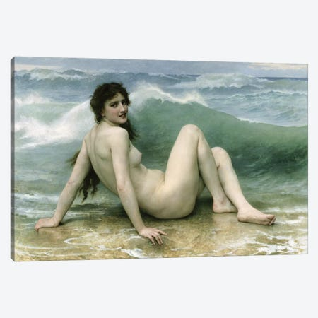 La Vague, 1896  Canvas Print #BMN9878} by William-Adolphe Bouguereau Canvas Artwork