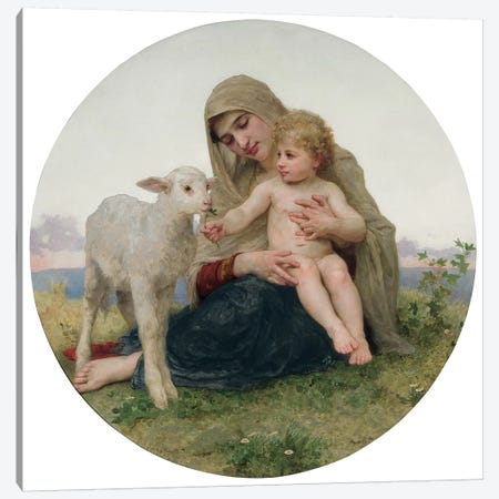 La Vierge avec l'Agneau, 1903  Canvas Print #BMN9879} by William-Adolphe Bouguereau Canvas Wall Art