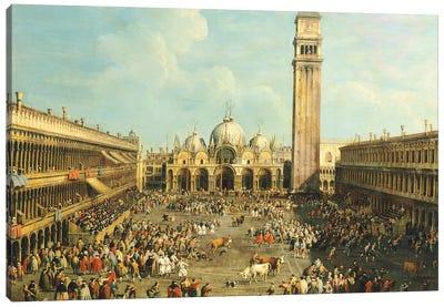 Bullfighting or Bull hunting in Piazza San Marco Canvas Art Print