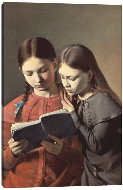 The Artist's Sisters Signe and Henriette Reading a Book, 1826 Canvas Art Print