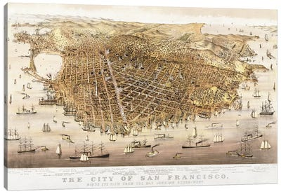 The City of San Francisco, birds-eye view from the Bay looking south-west Canvas Art Print