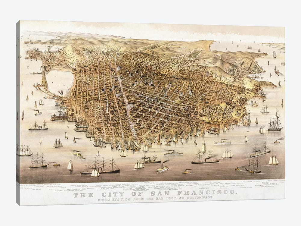 The City of San Francisco, birds-eye view from the Bay looking south-west by Charles Parsons 1-piece Canvas Artwork