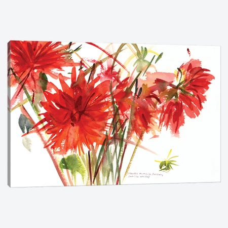 Dahlias, 2002  Canvas Print #BMN9900} by Claudia Hutchins-Puechavy Canvas Artwork
