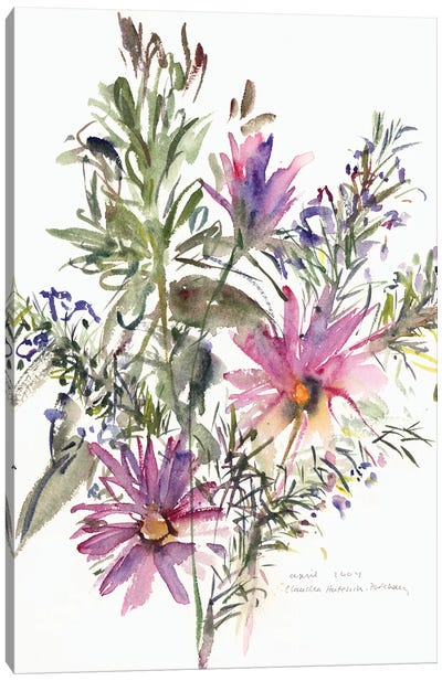 Floral, South African daisies and lavander, 2004  Canvas Art Print