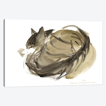 Sleeping Cat, 1985  Canvas Print #BMN9920} by Claudia Hutchins-Puechavy Canvas Artwork