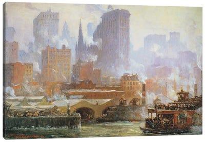 Wall Street Ferry Ship  Canvas Art Print
