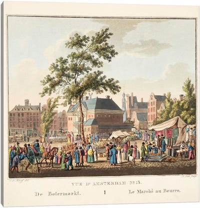Vue d'Amsterdam No.15. De Botermarkt. Le Marché au Beurre, 1825  Canvas Art Print