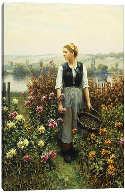 Girl with a Basket in a Garden,  Canvas Art Print