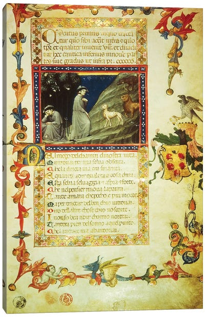 First page of first Canto of Inferno, miniature from Divine Comedy, by Dante Alighieri  Canvas Art Print