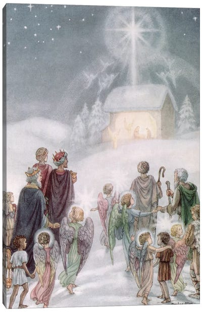 A Christmas Card from a watercolour Canvas Art Print