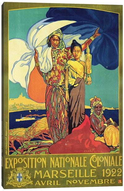 Poster advertising the 'Exposition Nationale Coloniale', Marseille, April to November 1922  Canvas Art Print
