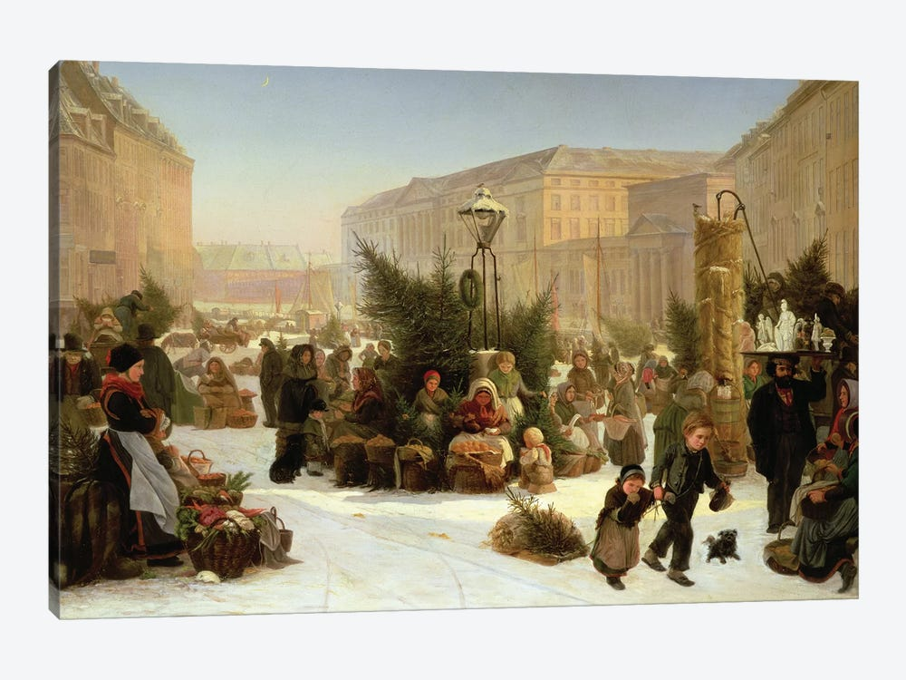 Selling Christmas Trees, 1853  by David Jacobsen 1-piece Canvas Print