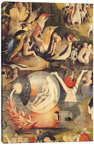 The Garden of Earthly Delights: Allegory of Luxury, central panel of triptych, c.1500 by Hieronymus Bosch Canvas Art Print
