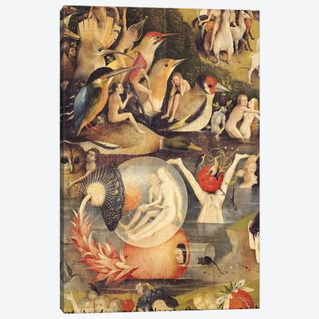 The Garden of Earthly Delights: Allegory of Luxury, central panel of triptych, c.1500   Canvas Print #BMN997} by Hieronymus Bosch Canvas Art Print