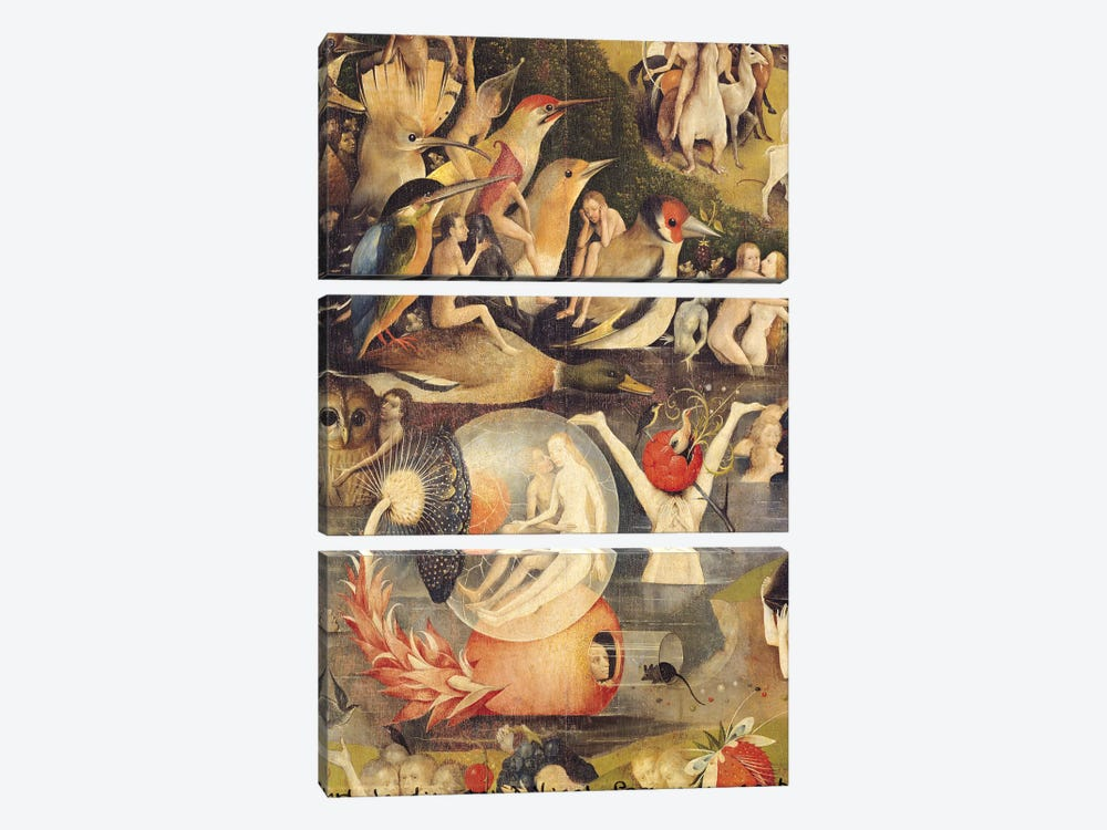 The Garden of Earthly Delights: Allegory of Luxury, central panel of triptych, c.1500   by Hieronymus Bosch 3-piece Art Print