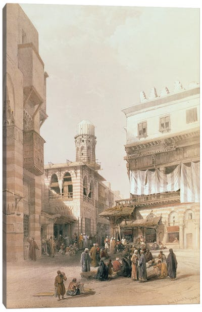 """Bazaar of the Coppersmiths, Cairo, from """"Egypt and Nubia"""", Vol.3  Canvas Art Print"""