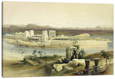 """General View of the Island of Philae, Nubia, from """"Egypt and Nubia"""", Vol.1  Canvas Art Print"""