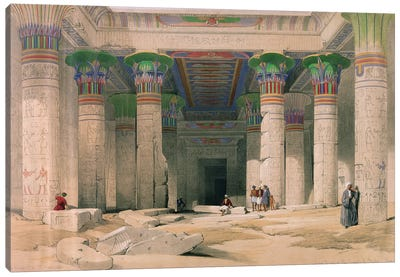 Grand Portico of the Temple of Philae, Nubia, from 'Egypt and Nubia' published in London, 1838  Canvas Art Print