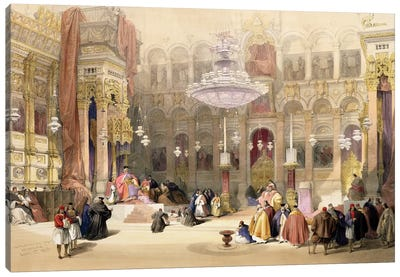Greek Church of the Holy Sepulchre, Jerusalem, April 11th 1839, plate 4 from Volume I of 'The Holy Land' pub. 1842  Canvas Art Print