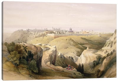 Jerusalem from the Mount of Olives, April 8th 1839, plate 6 from Volume I of 'The Holy Land'pub. 1842  Canvas Art Print