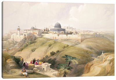 Jerusalem, April 9th 1839, plate 16 from Volume I of 'The Holy Land' pub. 1842  Canvas Art Print