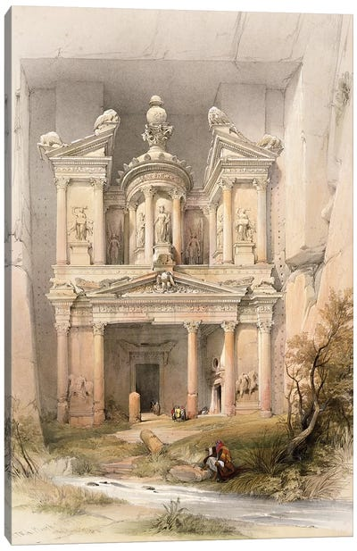 Petra, March 7th 1839, plate 92 from Volume III of 'The Holy Land' pub. 1849  Canvas Art Print