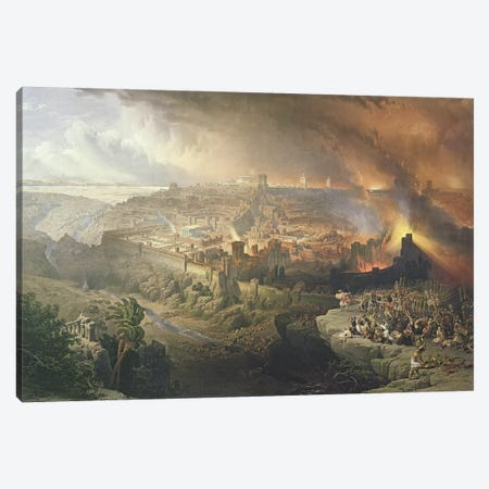 The Destruction of Jerusalem in 70 AD, engraved by Louis Haghe   Canvas Print #BMN9997} by David Roberts Canvas Art