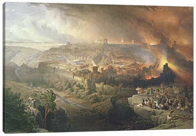 The Destruction of Jerusalem in 70 AD, engraved by Louis Haghe   Canvas Art Print