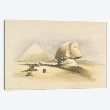 """The Great Sphinx and the Pyramids of Giza, from """"Egypt and Nubia"""", Vol.1  3-Piece Canvas #BMN9999} by David Roberts Art Print"""
