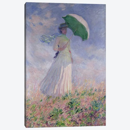 Woman with a Parasol turned to the Right, 1886  Canvas Print #BMN999} by Claude Monet Canvas Artwork