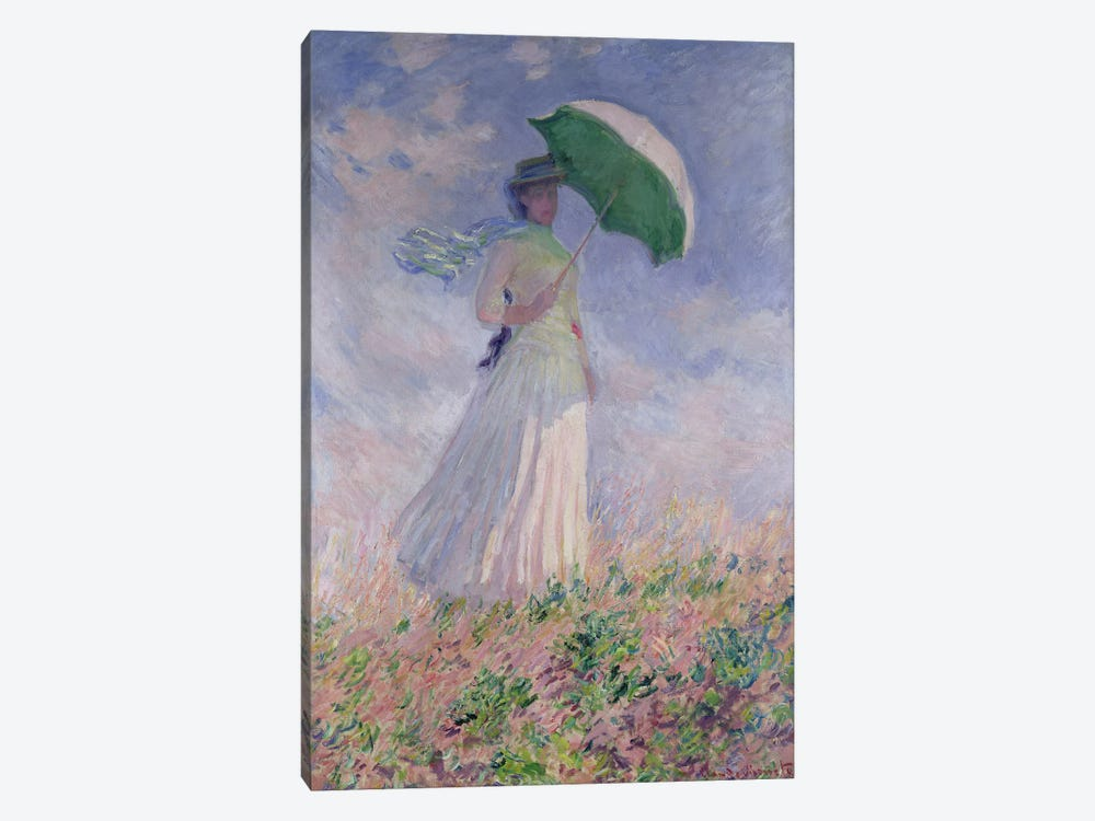 Woman with a Parasol turned to the Right, 1886 by Claude Monet 1-piece Canvas Art Print
