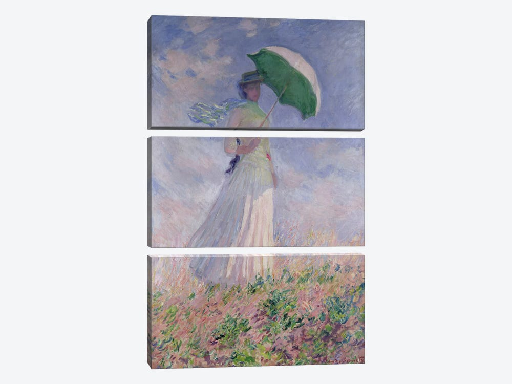 Woman with a Parasol turned to the Right, 1886 by Claude Monet 3-piece Art Print