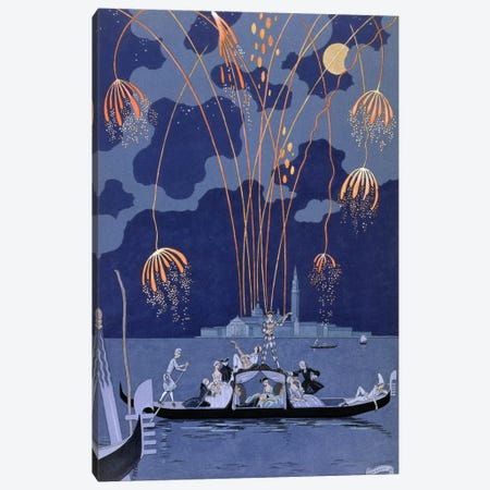 Fireworks in Venice, illustration for 'Fetes Galantes' by Paul Verlaine (1844-96) 1924 (pochoir print) Canvas Print #BMN9} by George Barbier Canvas Print