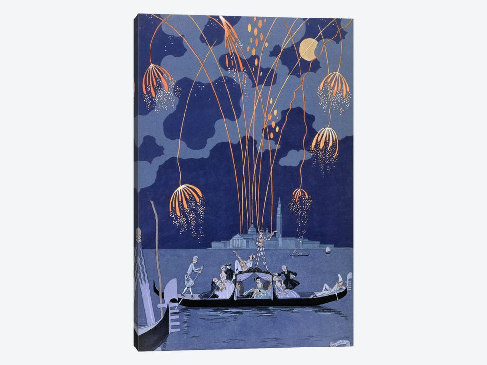 Fireworks in Venice, illustration for 'Fetes Galantes' by Paul Verlaine (1844-96) 1924 (pochoir print) by George Barbier 1-piece Canvas Print