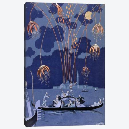 Fireworks in Venice, illustration for 'Fetes Galantes' by Paul Verlaine (1844-96) 1924 (pochoir print) Canvas Print #BMN9} by George Barbier Canvas Print