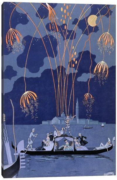 Fireworks in Venice, illustration for 'Fetes Galantes' by Paul Verlaine (1844-96) 1924 (pochoir print) Canvas Art Print