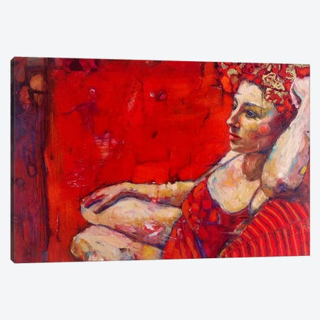 Rose In Red Canvas Print #BMT28} by Juliette Belmonte Canvas Wall Art