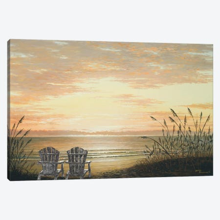 Sunset Chairs Canvas Print #BNA48} by Bruce Nawrocke Art Print