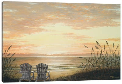 Sunset Chairs Canvas Art Print