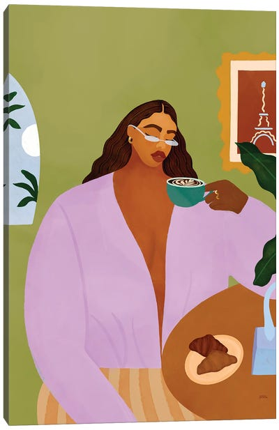 Coffee And Croissant Canvas Art Print