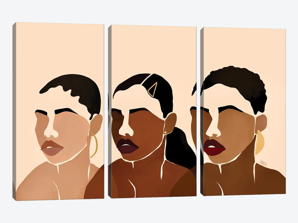 Sisters I by Bria Nicole 3-piece Canvas Wall Art